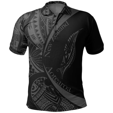 New Zealand Silver Fern Polo Shirt Maori Tattoo Circle Style J95 - 1st New Zealand