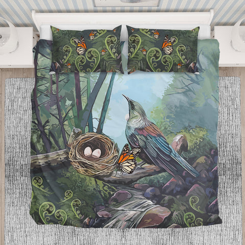 Image of New Zealand Tui bird and Butterflies Bedding Set K5 - 1st New Zealand