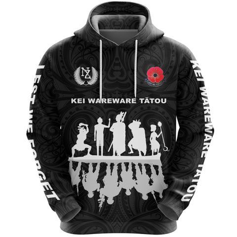 Lest We Forget Hoodie, New Zealand Warriors Anzac Pullover Hoodie K5 - 1st New Zealand