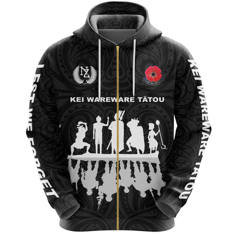 Lest We Forget Zip Hoodie, New Zealand Warriors Anzac Full Zip Hoodie K5 - 1st New Zealand