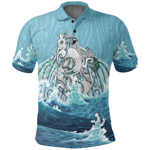 Maori Manaia The Blue Sea Polo Shirt K5 - 1st New Zealand