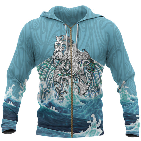 Maori Manaia The Blue Sea Zip Hoodie K5 - 1st New Zealand