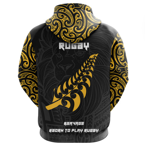 New Zealand Maori Lion Rugby Zip Hoodie K5