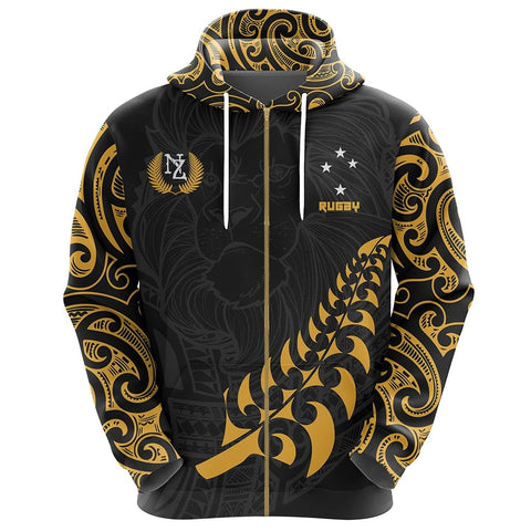 Image of New Zealand Maori Lion Rugby Zip Hoodie - Customized K5 - 1st New Zealand