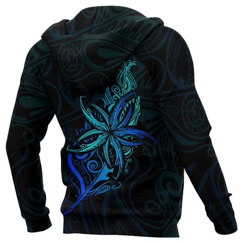 Light Silver Fern New Zealand Hoodie, Frangipani Tattoo Pullover Hoodie K5 - 1st New Zealand