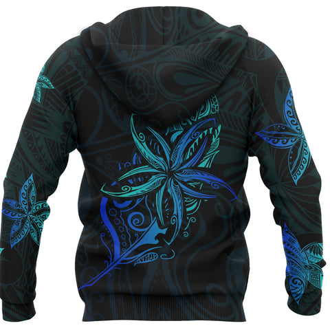 Light Silver Fern New Zealand Hoodie, Frangipani Tattoo Pullover Hoodie 02 K5 - 1st New Zealand