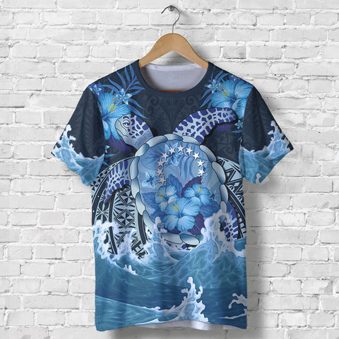 Cook Islands Polynesian Sea Turtle Hibiscus T Shirt K5 - 1st New Zealand