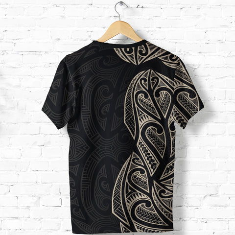 New Zealand Maori T Shirt, Ta Moko Tattoo Shirt - Tan K5