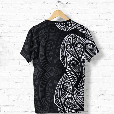 New Zealand Maori T Shirt, Ta Moko Tattoo Shirt - White K5