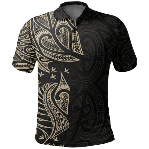 New Zealand Maori Polo Shirt, Ta Moko Tattoo Golf Shirt - Tan K5