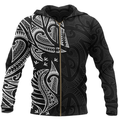 New Zealand Maori Zip Hoodie, Ta Moko Tattoo Full Zip Hoodie - White K5