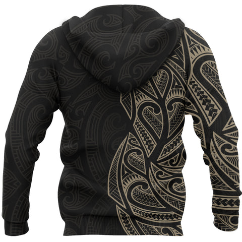 New Zealand Maori Zip Hoodie, Ta Moko Tattoo Full Zip Hoodie - Tan K5