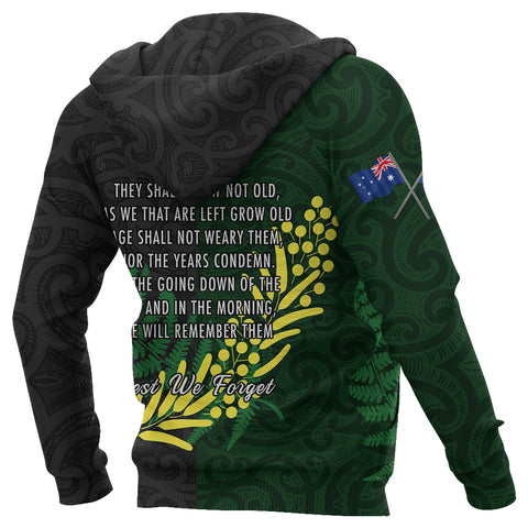 Image of Anzac Spirit Zip Hoodie, Lest We Forget Full Zip Hoodie K5 - 1st New Zealand