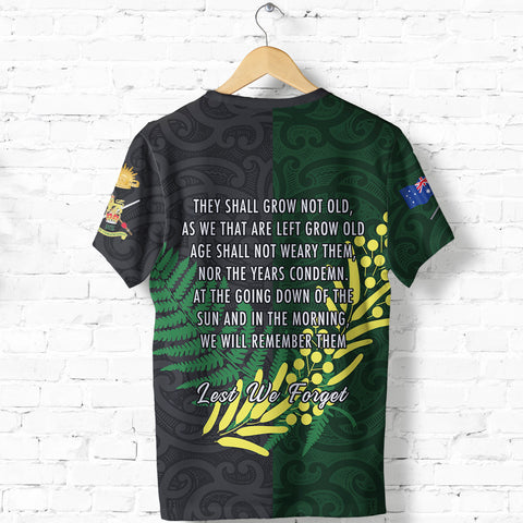 Anzac Spirit T Shirt, Lest We Forget Shirt K5 - 1st New Zealand
