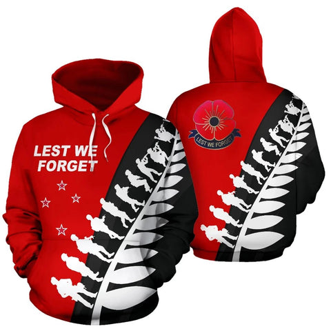 New Zealand Anzac Fern Hoodie, Poppies Lest We Forget Maori Pullover Hoodie K5 - 1st New Zealand