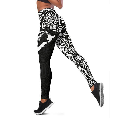 Aotearoa Maori With Map And Silver Fern Leggings TH05 - 1st New Zealand