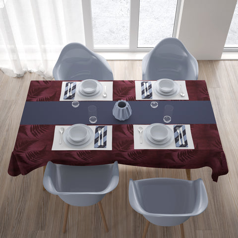 Burgundy New Zealand Fern Tablecloth A02 - 1st New Zealand