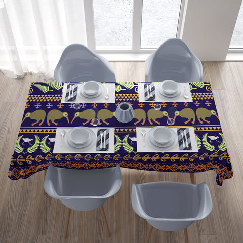 Image of New Zealand Pattern Tablecloth With Kiwi And Silver Fern - 1st New Zealand