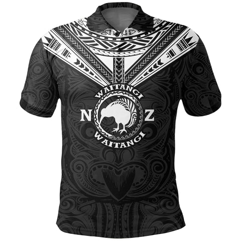 New Zealand Maori Polo Shirt Waitangi Day - Black K5 - 1st New Zealand