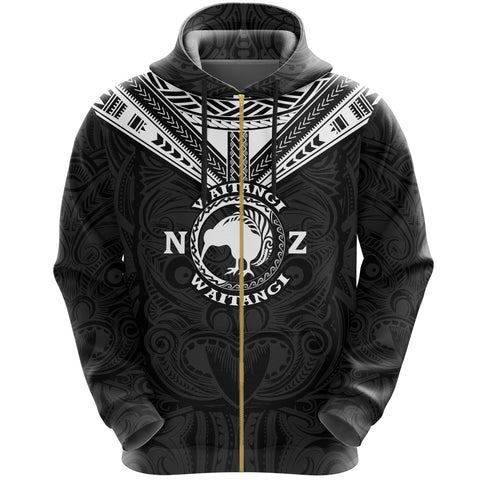 New Zealand Maori Zip Hoodie Waitangi Day - Black K5 - 1st New Zealand