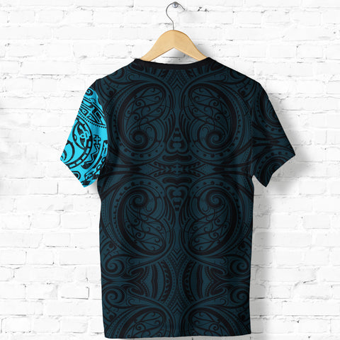 New Zealand Maori T Shirt, Maori Warrior Tattoo Shirt - Blue A75 - 1st New Zealand