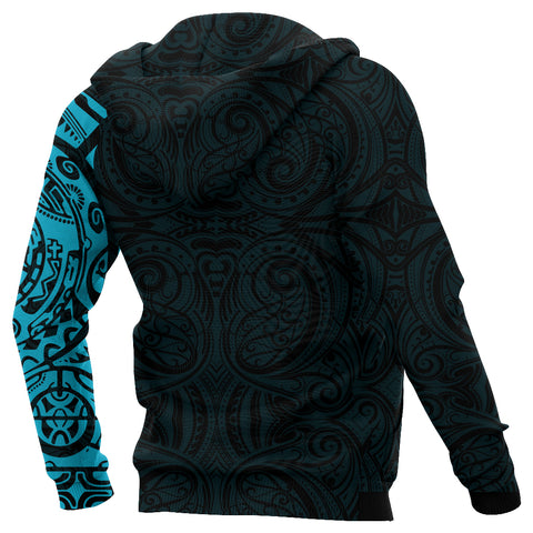 New Zealand Maori Hoodie, Maori Warrior Tattoo Pullover Hoodie - Blue A75 - 1st New Zealand