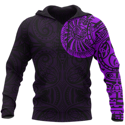 New Zealand Maori Hoodie, Maori Warrior Tattoo Pullover Hoodie - Purple A75 - 1st New Zealand