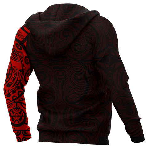 New Zealand Maori Hoodie, Maori Warrior Tattoo Pullover Hoodie - Red A75 - 1st New Zealand