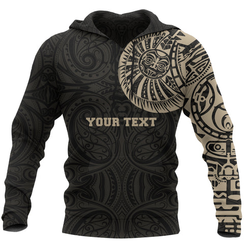 Maori Hoodie, Maori Warrior Tattoo Pullover Hoodie Tan - Customized A75 - 1st New Zealand