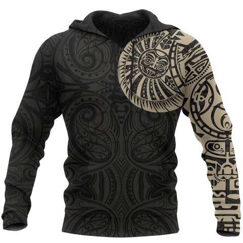 New Zealand Maori Hoodie, Maori Warrior Tattoo Pullover Hoodie - Tan A75 - 1st New Zealand