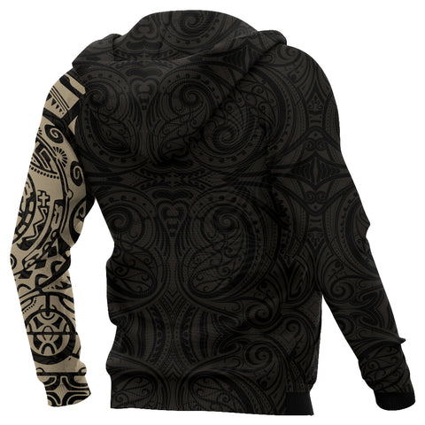 New Zealand Maori Zip Hoodie, Maori Warrior Tattoo Full Zip Hoodie - Tan A75 - 1st New Zealand