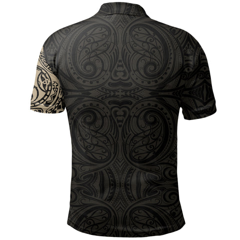 New Zealand Maori Polo Shirt, Maori Warrior Tattoo Golf Shirts Tan A75 - 1st New Zealand