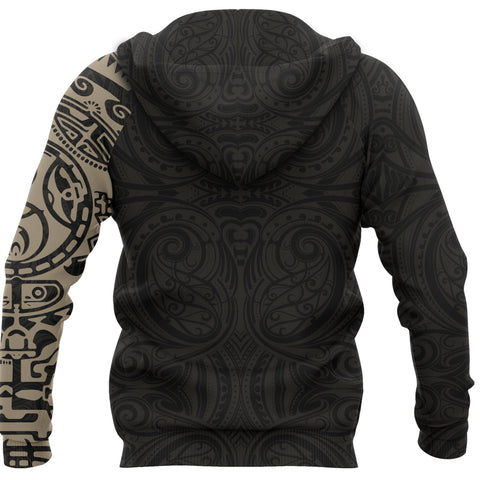 Image of New Zealand Maori Hoodie, Maori Warrior Tattoo Pullover Hoodie - Tan A75 - 1st New Zealand