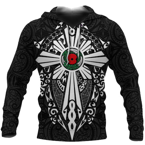 New Zealand Anzac Hoodie, Lest We Forget Maori Cross Tattoo Pullover Hoodie K4 - 1st New Zealand