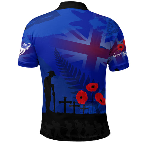 Anzac New Zealand Polo Shirt,  Lest We Forget Poppy Golf Shirt - Remember Them K4 - 1st New Zealand