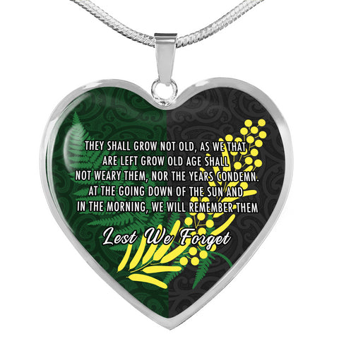 Anzac Spirit, Lest We Forget Heart Necklace K5 - 1st New Zealand