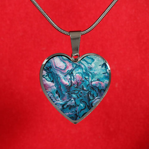 New Zealand Paua Shell Heart Necklace K4 - 1st New Zealand