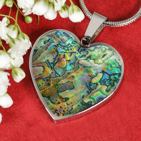 New Zealand Heart Necklace Maori Paua Shell 2 K4 - 1st New Zealand