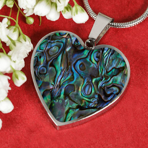 New Zealand Heart Necklace Maori Paua Shell K4 - 1st New Zealand