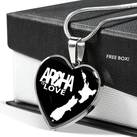 Aroha is Love Heart Necklace K4 - 1st New Zealand