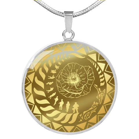 Lest We Forget Tattoo New Zealand Circle Necklace K5 - 1st New Zealand