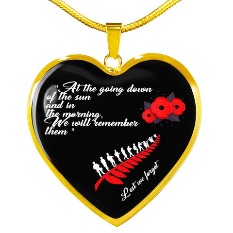 Lest We Forget - New Zealand Heart Necklace K5 - 1st New Zealand