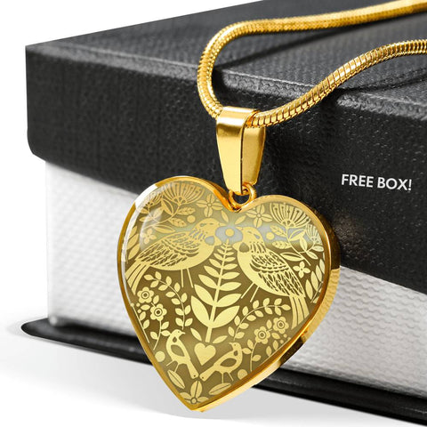 New Zealand Golden Tui Bird Pattern Heart Necklace K5 - 1st New Zealand