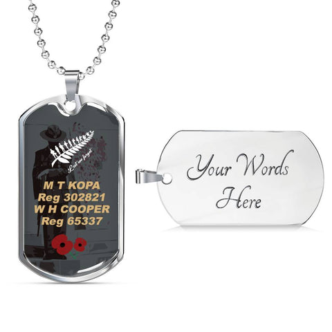 Lest We Forget New Zealand Dog Tag - Custom K5 - 1st New Zealand