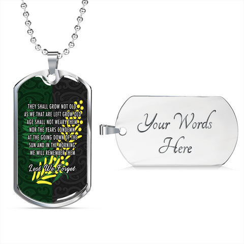 Anzac Spirit, Lest We Forget Dog Tag K5 - 1st New Zealand