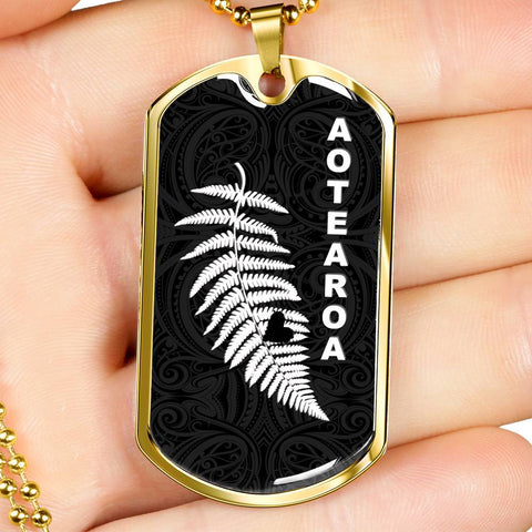 Maori Aotearoa Silver Fern - Heart Version Dog Tag K7 - 1st New Zealand