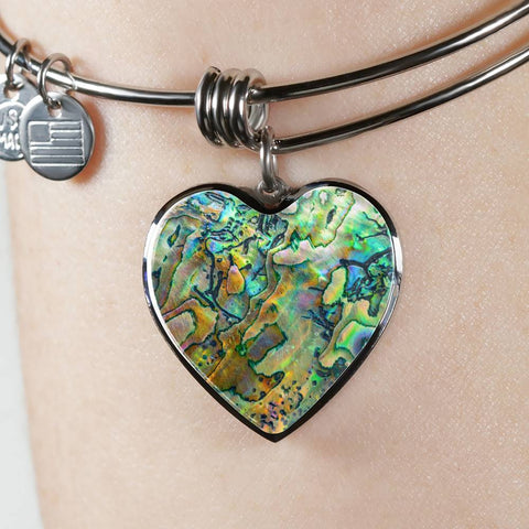 Image of New Zealand Jewelry Paua Shell Luxury Heart Bangle 2 K4 - 1st New Zealand