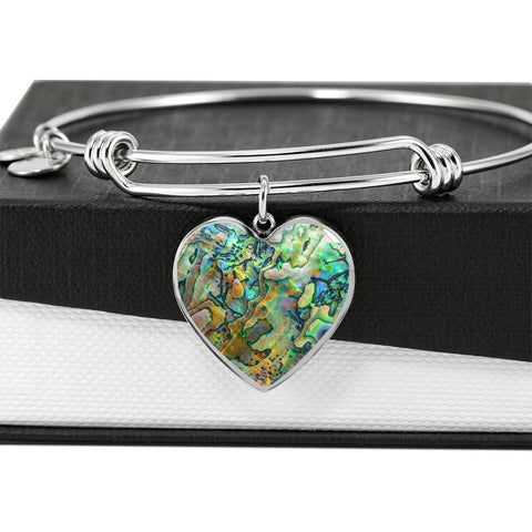 New Zealand Jewelry Paua Shell Luxury Heart Bangle 2 K4 - 1st New Zealand