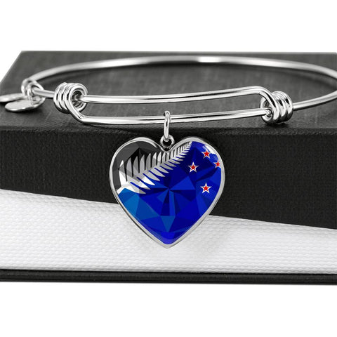 New Zealand Jewelry Flag Silver Fern Luxury Heart Bangle - 1st New Zealand