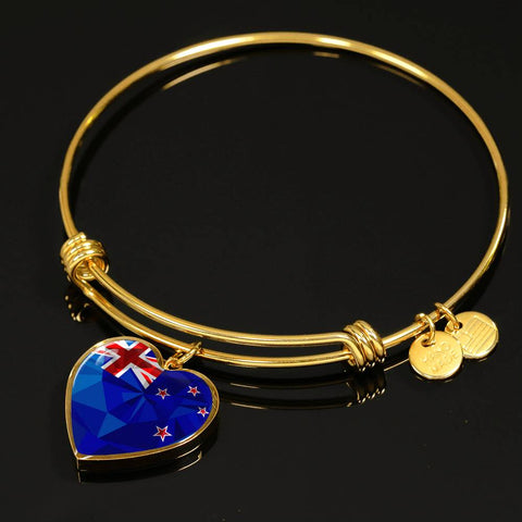 New Zealand Jewelry Flag Luxury Heart Bangle - 1st New Zealand